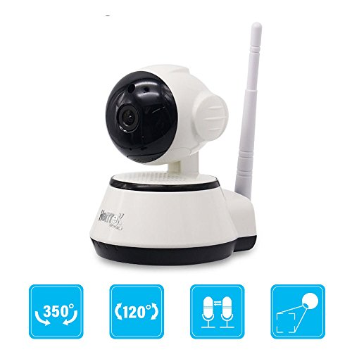 Dome Camera 720p HD Pan/Tilt/Zoom Wi-Fi IP Security Surveillance System Night Vision, Remote Monitor iOS, Android App (White)