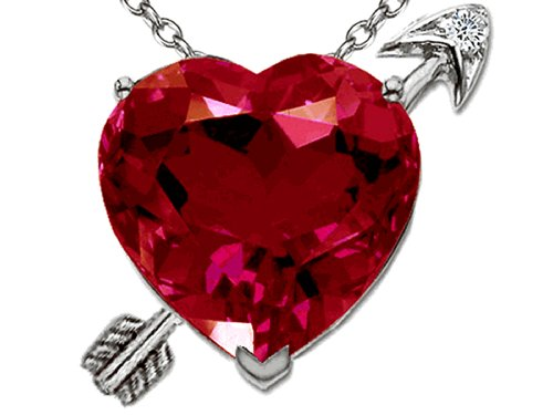 - Tommaso Design Heart Shape Created Ruby with Arrow Love Pendant Necklace 14 kt White Gold