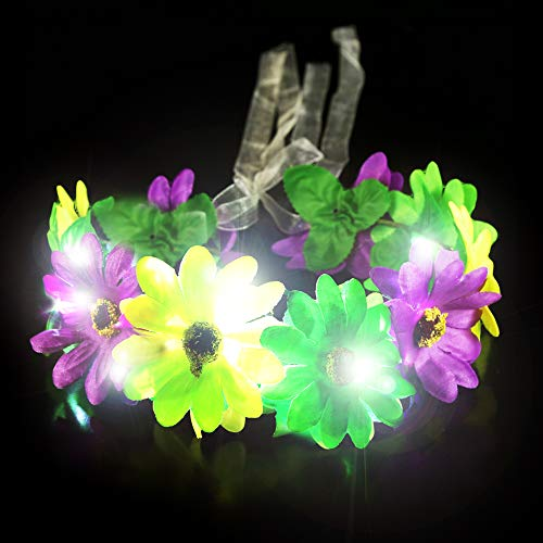 Fun Central BC959, 1 Pc LED Light-up Mardi Gras Flower Halo, Flower Wreath Crown, Glow Floral Headband, Fairy Halo Crown, Fancy Headpiece, Costume Party Accessories, Flower Hairpiece for Fairy Themed Party and Festivals -