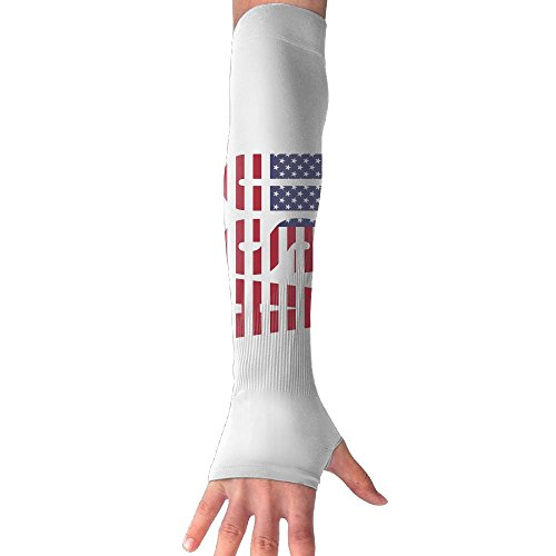 Chion American Flag Usa Gloves Anti-uv Sun Protection Long Fingerless Arm Cooling ()