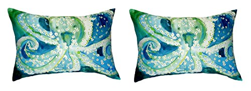 Pair of Betsy Drake Octopus No Cord Pillows 15 Inch X 22 Inch price