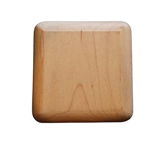 (Set of Eight) Unfinished Maple Wood Square Drawer Dresser Cabinet Knobs Pulls w/ Brass Insert 2