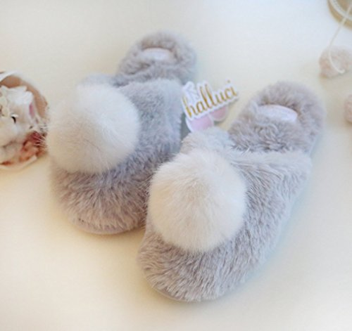 House Slippers Slippers Cute Blubi Toe Plush Grey Women's Closed Bedroom qT6xXq