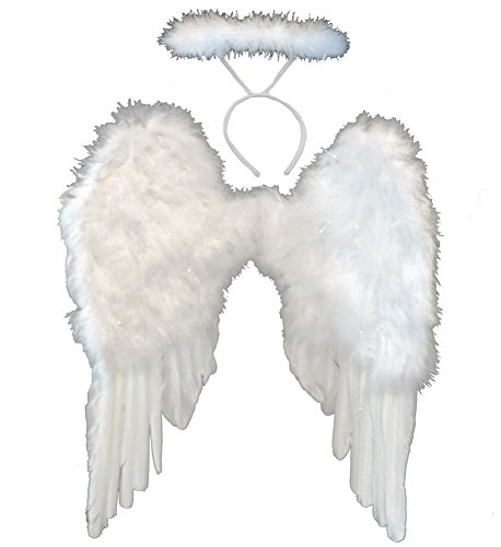 White Feather Angel WIng Set (Angel Wings Halo Costume)