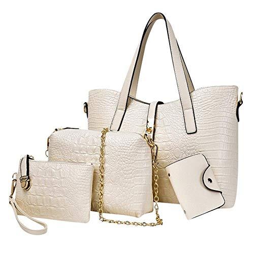 Titolare della carta della borsa della frizione della borsa del crossbody della borsa della spalla della borsa di cuoio dell'unità di elaborazione delle donne 4pcs ( Colore : Bianca , Dimensione : - ) Bianca
