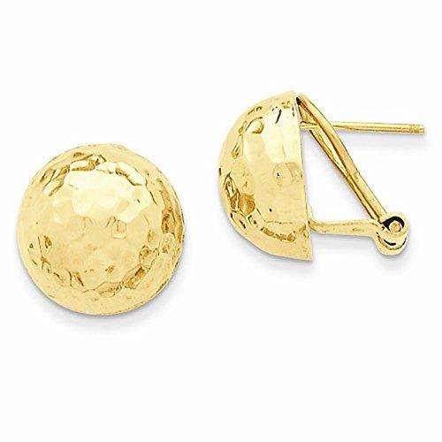 14k Yellow Gold Hammered 14mm Half Ball Omega Post Earrings
