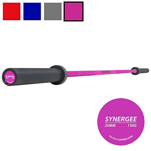 Synergee Games 15kg and 20kg Colored Cerakote Barbells. Rated 1500lbs for Weightlifting, Powerlifting and Crossfit. Red, Blue, Grey, Pink