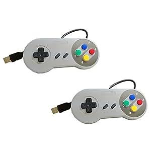 Yizhet 2x gamepad / controlador USB SNES para PC / portátil / tableta diseño retro para Super Famicom Windows PC USB (SNES para PC)