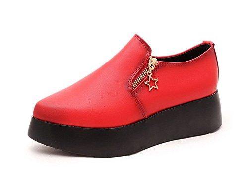 CHFSO Womens Trendy Round Toe Low Top Side Zipper Mid Heel Platform Fashion Sneakers Red xZ0LpFQ8