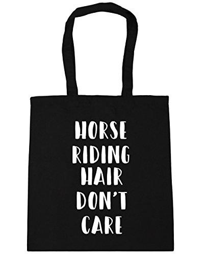 HippoWarehouse Don 't care de pelo de caballo bolsa de la compra bolsa de playa 42cm x38cm, 10litros negro