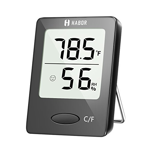 - Habor Digital Hygrometer Indoor Thermometer, Humidity Gauge Indicator Room Thermometer, Accurate Temperature Humidity Monitor Meter for Home, Office, Greenhouse, Mini Hygrometer (2.3 X 1.8 Inch)