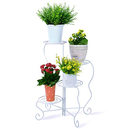 Homes Garden 4-Tier Metal Plant Stand Shelf Flower Pot Holder White Foldable Easy to Assemble Indoor & Outdoor Corner Home Decor by Garden 11 in. x 9 in. x 27 in. #G-K306A02