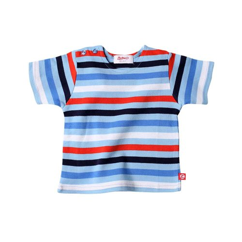 Zutano Bold Stripe Short Sleeve T Shirt   Chambray, 18 24 months (Zutano Bold Stripe)