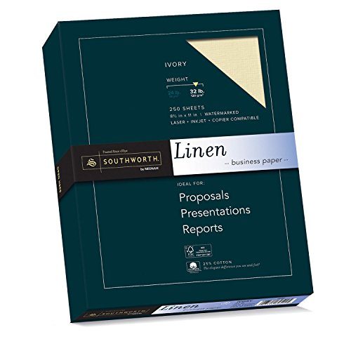Fine Ivory Business Paper (Southworth Linen Business Paper, Ivory, 32 Pounds, 250 Count (J568C))