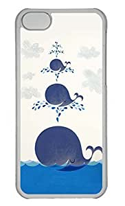 Personalized Custom Smiling Whales for iPhone 5C PC Transparent Case