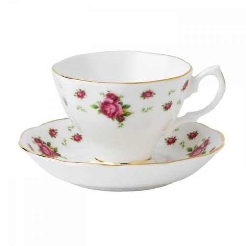 (Royal Albert New Country Roses Formal Vintage Teacup and Saucer Boxed Set, White)