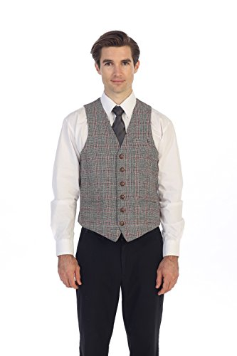 Gioberti Men's 6 Button Slim Fit Formal Herringbone Tweed Vest, Checked Black/Red, X Small