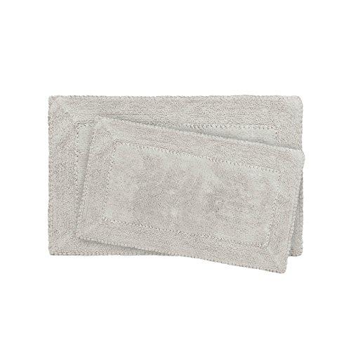 Laura Ashley Ruffle Cotton 2-Piece Bath Rug Set, - Light Gray Bathroom Rugs