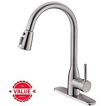 Ufaucet Modern Commercial Lead Free Solid Brass Single Lever Pause Botton  Pull Out Sprayer Brushed