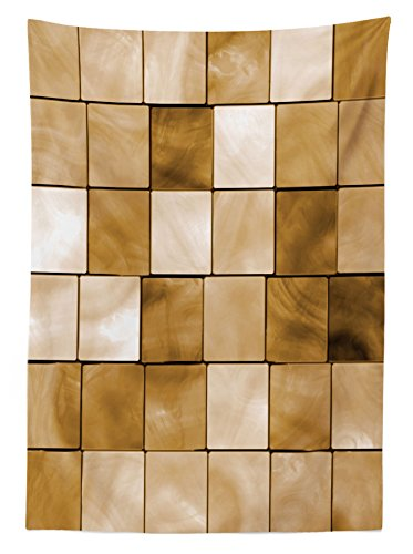 Lunarable Beige Outdoor Tablecloth, Faded Tiles Wood Cubes Squares Geometric Inspired Modern Simple Urban Boho Artwork Print, Decorative Washable Picnic Table Cloth, 58 X 84 inches, Brown by Lunarable (Image #1)