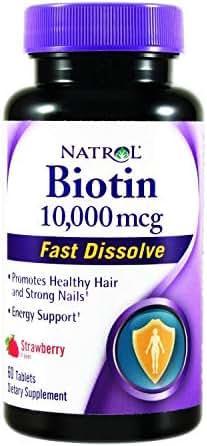 Natrol Biotin Fast Dissolve Tablets, 10,000 mcg, 60 Tab. Pack of 2