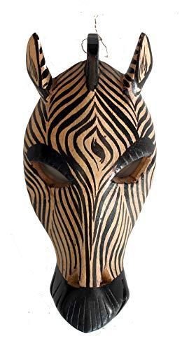 African Animal Mask Hand Craft Zebra Wood Mask Wall Hanging Decor 10'' Pub Decor B&B Decor Guest House Decor