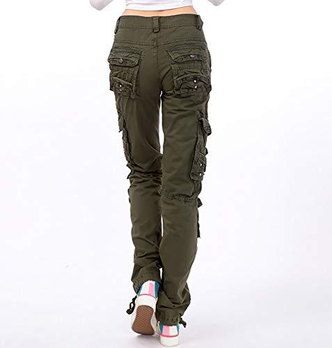 paio di Army da casuali a moda all'aperto pantaloni di donna trasporto Pantaloni Pantaloni da combattimento un maniche unisex da Green donna da di multitasche lunghe CqEwnIg