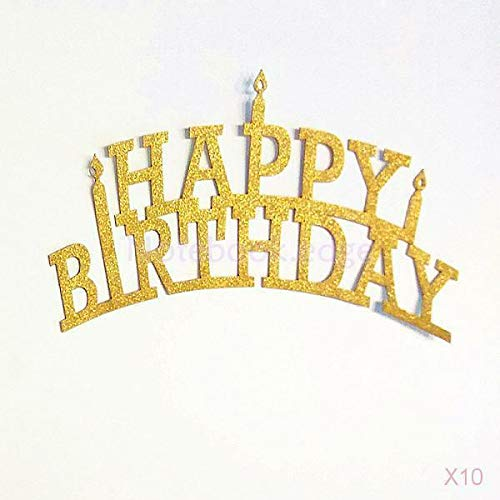 BROSCO 10x 20Pcs Gold Glitter Happy Birthday Cupcake Cake Toppers Pick Party Supplies ()