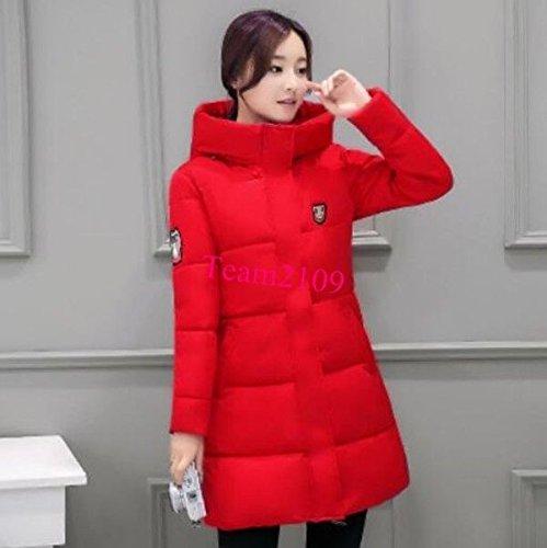 Winter Long Parka S Red Women Outwear Slim T Down Fur Red Warm Overcoat Coat XL Hooded Jacket SFwrS8q