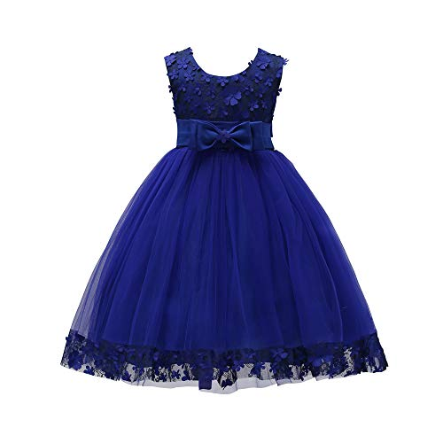 Weileenice 1-14 Years Big/Little Girl Flower Lace A-line Party Dresses (5-6Y, Sapphire Blue) -