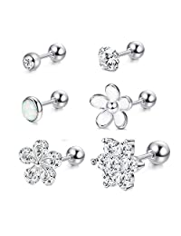 Milacolato 6Pcs CZ Barbell Helix Piecing Cartilage Earring Stainless Steel Nose Lip Studs Opal Tragus Body Piercing Jewelry 16G