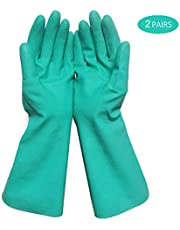 Huakway Heavy Duty Cleaning Gloves, Waterproof Nitrile Gloves, Resuable Household Gloves Resistance of Oil, Acid, Soda, Solvent (Green Medium 2-Pack)