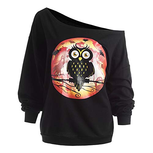 TWGONE Womens Tops Plus Size Halloween Owl Skew Neck Sweatshirt Pullover Blouse Polyseter Shirt(US-14/CN-2XL,Black) -