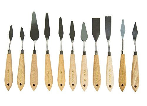 CONDA 11 Piece Stainless Steel Spatula Palette Knife Palette Knife Painting Wood Handle by CONDA