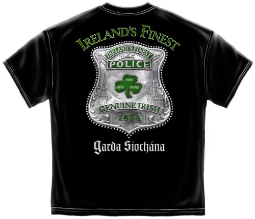 Law Enforcement Short Sleeve Shirts, 100% Cotton Casual Men's Shirts, Show Your Pride with Our Garda Ireland's Finest Police T-Shirts for Men Or Women (X-Large)