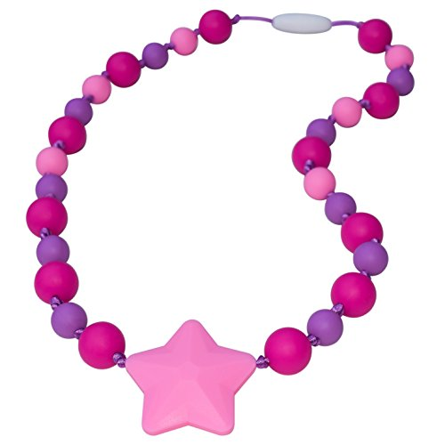 Sensory Oral Motor Aide Chewelry Necklace - Chewy Jewelry for Sensory-Focused Kids with Autism or Special Needs - Calms Kids and Reduces Biting/Chewing - Starlight (Fuchsia/Pink/Purple)