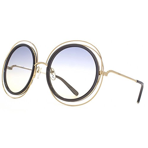 Chloé - CARLINA CE120S, Round, metal, women, GOLD TRANSPARENT GREY/GREY SHADED(731 A), - Sunglasses Shaded