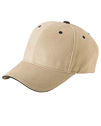 Yupoong Brushed Cotton Twill 6-Panel Mid-Profile Sandwich Cap (6262S)- KHAKI/NAVY, (Panel Mid Profile Sandwich Cap)