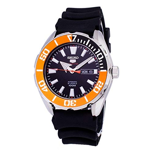 (Seiko 5 Sports SRPC59 Men's Rubber Band Orange Bezel 100M Automatic Dive Watch)