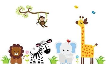 Nursery Boys Room Wall Sticker Jungle Animal Decal Jungle Animal Wall Mural