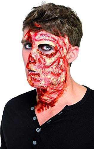 Adults Ladies Mens Halloween Special Effects Make Up Latex Burnt Skin Face Scar Scary Creepy Fancy Dress Costume Accessory -