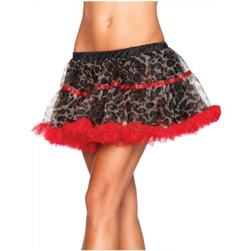 Leg Avenue Women's Leopard Print Tulle Petticoat With Contrast Solid Trim, Leopard, One Size -