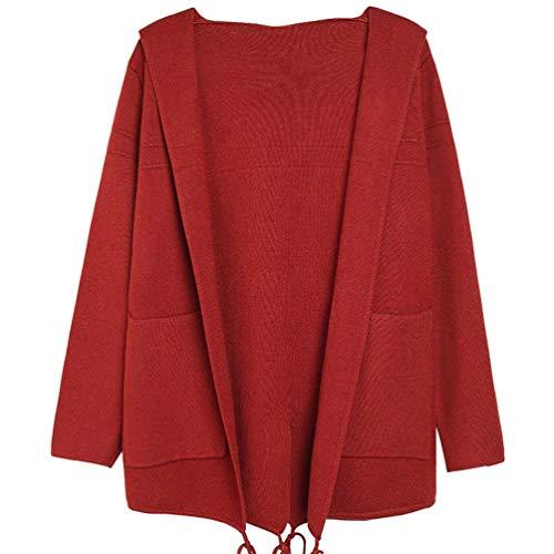 Poches Manches Capuchon Tricot Fashion Manche Loisir Femme Pullover Manteau Hiver Vtements Uni Coat Long Confortables en Baggy avec Outerwear Caf Chaud Veste Elgante Automne BwFSZZqA