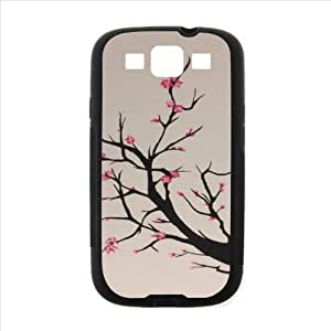 Japanese Cherry Blossom Tree pattern,The sakura art Custom phoneCase for Samsung Galaxy S3 I9300 PC case cellphone cover black