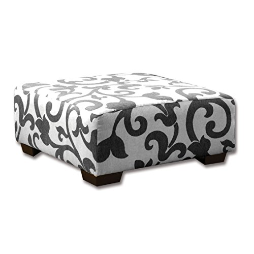 HOMES Inside Out ioHOMES Volos Padded Swirl Ottoman, Charcoal