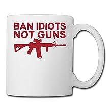 Ban Idiots Not Guns Picture Ceramic Travel Mugs