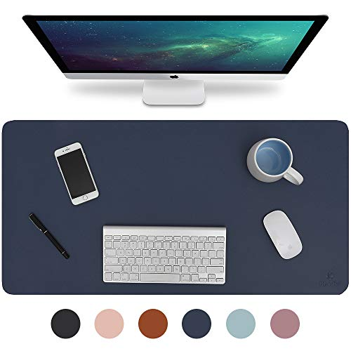 "Knodel Desk Pad, Office Desk Mat, 31.5"" x 15.7"" PU Leather Desk Blotter, Laptop Desk Mat, Waterproof Desk Writing Pad for Office and Home, Dual-Sided (Dark Blue)"