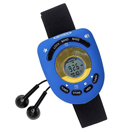 Jensen SAB-55BL Blue Limited Edition Sport Armband LCD Display Digital AM/FM Stereo Radio DBBS & Digital Clock Function Built-in Belt Clip & Sport Earbuds Included (Armband For Radio Running)