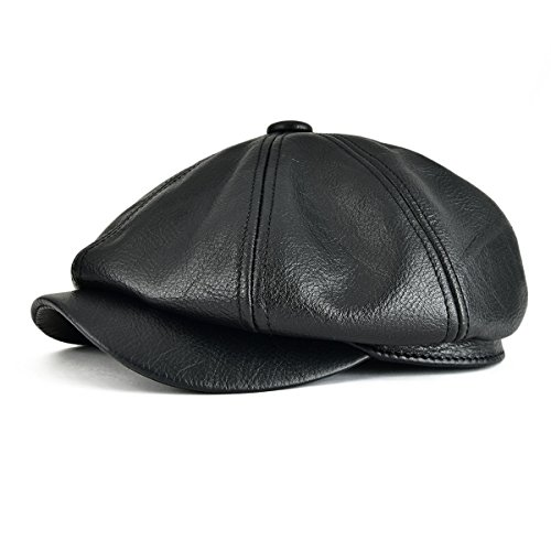 VOBOOM First Layer Cowhide Leather Ivy Hat Cap Eight Pannel Cabbie Newsboy Beret hat MZ114 (Large/X-Large, Black)