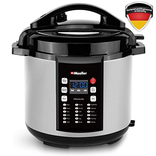 Mueller 9-in-1 Pro Series 18 Smart Program Pressure Cooker with German ThermaV Even Heat Technology